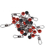 Imported 20pcs Space Beans Fishing Line to Hook Swivels Shank Clip Connector Red L