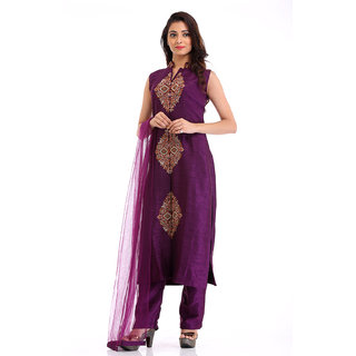 Straight Raw Silk Suit with Knot Embroidery