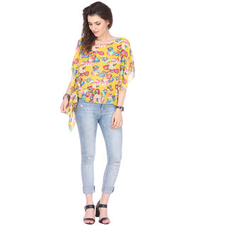 Varanga Yellow Georgette Round Neck Half Sleeve Printed Top