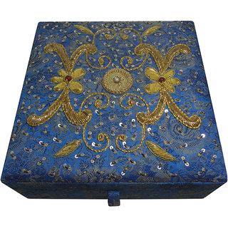 Avinash Handicrafts Makeup Kit Box 8x8x3 Blue in Zari work