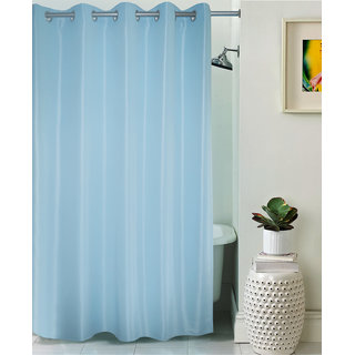 Lushomes Unidyed Blue Polyester Shower Curtain with 10 Eyelets