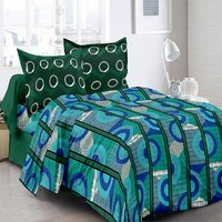 Welhouse Cotton Stripes Blue Double Bedsheet With 2 Contrast Pillow Covers(TC-129)