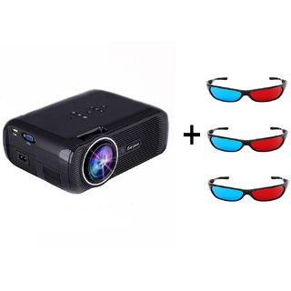 Everycom X7 LED Video Projector 1080P for Home Cinema Theater With Free Three 3D Glasses (Black)