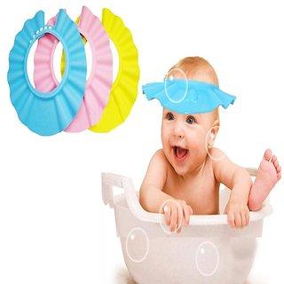 Evershine Baby kids Toddler Adjustable Hair Wash Hat Shampoo bathing Shower Eye Shield Cap Pack Of 3