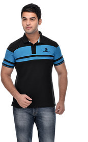 Surly Black Sky Blue Stripe Polo T-Shirt
