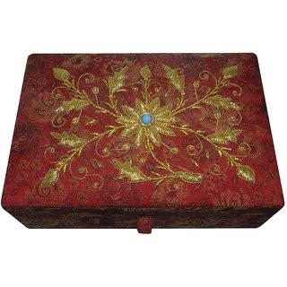 Avinash Handicrafts Makeup Kit Box 10x7x3 inch Red in Zari work