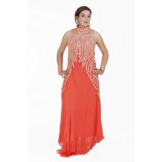Elegent orange colour gown with zari work