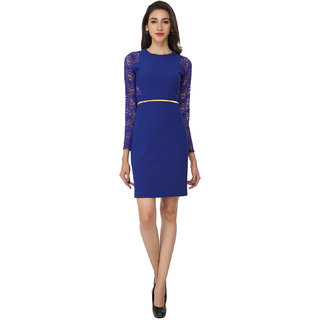 Soie Blue Polyester Round Neck A-line Solid Dress