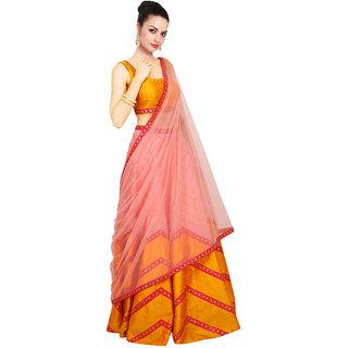 khantil Latest Navratri Special Yellow And Pink Lahenga Choli
