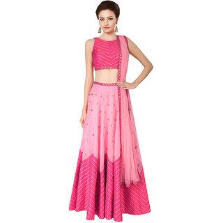 khantil Pink Lehariya Style Navratri Special Lehenga Choli