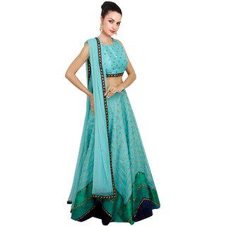 khantil Cyan Lehariya Style Navratri Special Lehenga Choli