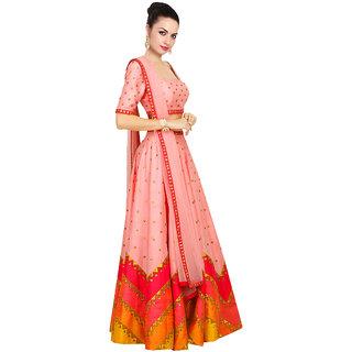 khantil lehariya Style Peach Navratri Special Lehenga Choli