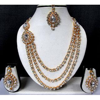 One Side Brooch Long Wedding Necklace Set