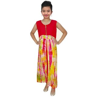 Titrit Red And Yellow  Cape Dress Without Legging