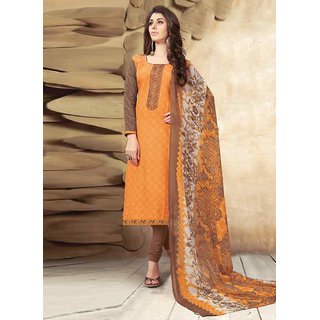 Swaron Orange and Brown Printed Mix Cotton Unstitched Dress Material 429D1012