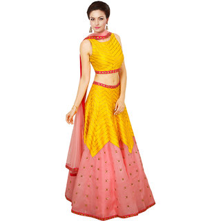 khantil Latest Yellow And Pink Navratri Special Lehenga Choli