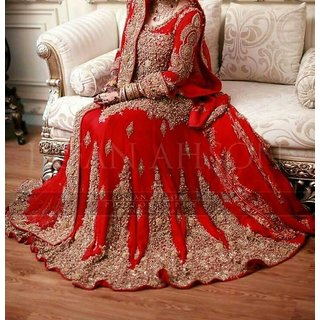 Women's Red Designer Wedding Lehenga In Red And Royal Golden
