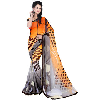 Melluha New Designer Multi Color Party Festive Wear Georgette Saree With Blouse Piece