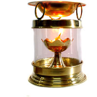 Brass Aromatherapy Oil Burner Hindu Puja Deepak Oil Lamp - Champhor Lamp - Perfume Oil Diffuser With Free Accessories