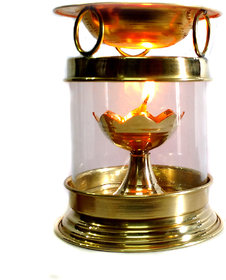 Brass Aromatherapy Oil Burner Hindu Puja Deepak Oil Lamp - Champhor Lamp - Perfume Oil Diffuser with Free Accessories
