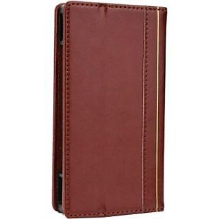 Jojo Wallet Case Cover for Lava Iris 505 (Dark Brown)