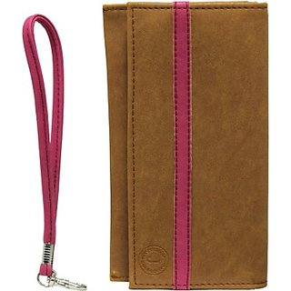 Jojo Wallet Case Cover for Sony Xperia E4 (TanPink)
