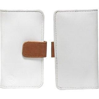 Jojo Flip Cover for Intex Cloud X12 (White, Orange)