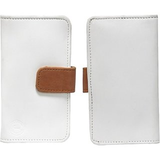 Jojo Flip Cover for Huawei U8500 Ideos X2 (White, Orange)
