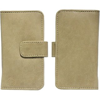 Jojo Flip Cover for Intex Aqua Star (2013) (Beige)