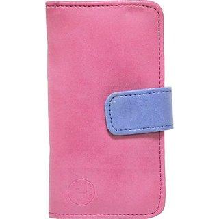 Jojo Flip Cover for Alcatel Idol Alpha (Pink, Dark Blue)