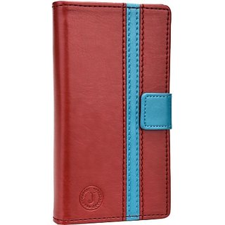 Jojo Wallet Case Cover for LG L70 (Red, Light Blue)