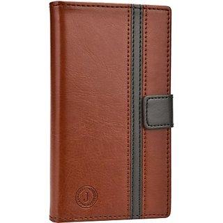 Jojo Wallet Case Cover for Nokia Lumia 735 (Dark Brown, Grey)