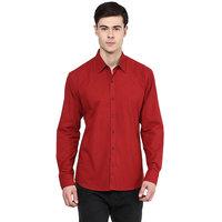 Stylox Men's Maroon Slim Fit Casual Shirt