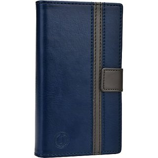 Jojo Wallet Case Cover for Swipe Konnect 4E (Dark Blue, Grey)