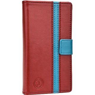 Jojo Flip Cover for Nokia 225 Dual Sim (Red, Light Blue)