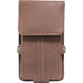 Jojo Pouch for Celkon A9 (Dark Brown)
