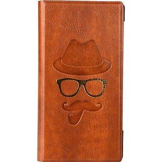 Jojo Wallet Case Cover for Celkon A900 (Dark Brown)
