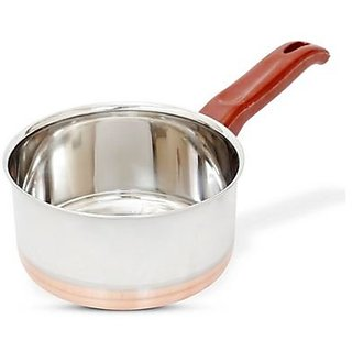 Hazel Sauce Pan Copper Bottom - Ex Large S12 Steel Vessel With Copper Bottom Plate Handle Pans