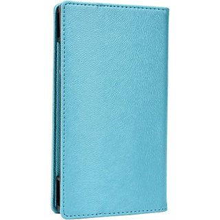 Jojo Wallet Case Cover for Spice Mi-430 (Light Blue)