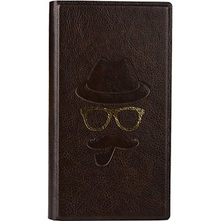 Jojo Wallet Case Cover for Celkon A59 (Dark Brown)