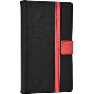 Jojo Wallet Case Cover for Micromax A110 Canvas 2 (BlackRed)