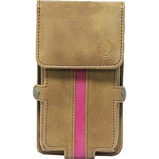 Jo Jo Pouch for Lava M2 (Tan, Pink)