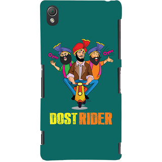 Oyehoye Dost Rider Quirky Printed Designer Back Cover For Sony Xperia Z3 Compact / Mini Mobile Phone - Matte Finish Hard Plastic Slim Case