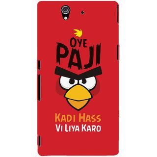 Oyehoye Quirky Punjabi Slangs Printed Designer Back Cover For Sony Xperia Z Mobile Phone - Matte Finish Hard Plastic Slim Case