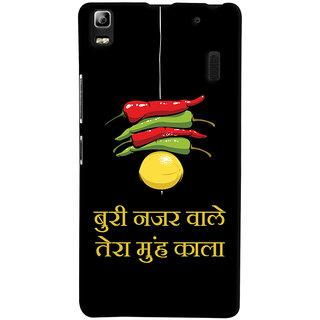 Oyehoye Buri Nazar Wale Tera Muh Kala Quirky Printed Designer Back Cover For Lenovo A7000 Mobile Phone - Matte Finish Hard Plastic Slim Case