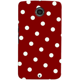 Oyehoye Red And White Polka Dots Pattern Style Printed Designer Back Cover For Motorola Google Nexus 6 Mobile Phone - Matte Finish Hard Plastic Slim Case