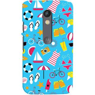 Oyehoye Beach Pattern Style Printed Designer Back Cover For Motorola Moto X Play Mobile Phone - Matte Finish Hard Plastic Slim Case