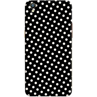 Oyehoye Black and White Polka Dots Pattern Style Printed Designer Back Cover For Oppo F1 Plus Mobile Phone - Matte Finish Hard Plastic Slim Case