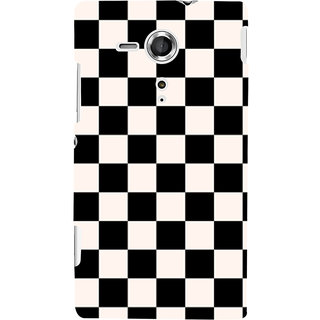 Oyehoye Black and White Checks Pattern Style Printed Designer Back Cover For Sony Xperia SP Mobile Phone - Matte Finish Hard Plastic Slim Case