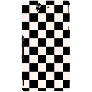 Oyehoye Black and White Checks Pattern Style Printed Designer Back Cover For Sony Xperia Z Mobile Phone - Matte Finish Hard Plastic Slim Case